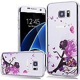 We Love Case Silicone Étui TPU Coque pour Samsung Galaxy S7 Edge Fleur Fille Transparent Housse de Protection Soft Shell Mode Original Coque Strass Case Swag Souple Gel Etui Cas de Couverture