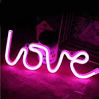 MorTime Love Neon Light Signs Wall Hooks, Novelty Neon Sign LED Decor for Room, Home,Kid Bedroom, Wall Decoration Dorm Decor Night Light Party Supplies
