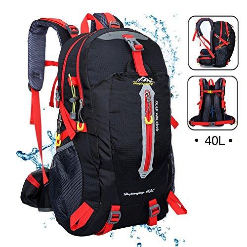 Imagen de sealands 40l resistente al agua día  senderismo camping backpack touring viaje  casual con protector de lluvia para exterior escalada negro