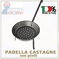 Padella in metallo per cucinare le castagne sulla brace con piedi di appoggioDiametro 29 centimetriProdotto artigianale realizzato in Italia