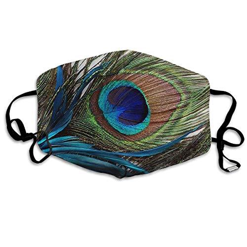 HUSDFS Mouth Maske Peacock Feather Printed Mouth Maske Unisex Anti-dust Masks Reusable Face Mask