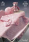 King Cole Baby Bolero, Hat & Pram Blanket DK Crochet Pattern 3258