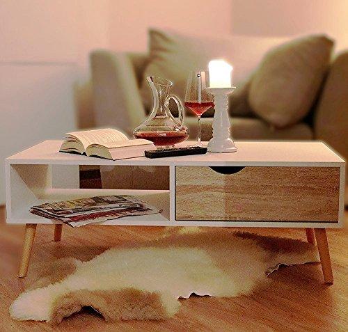 COUCHTISCH Eiche Sägerau-Optik Modern skandinavisch weiß ca. 100 x 50 cm Wohnzimmertisch TV-Tisch Beistell Tisch skandinavisches Design Buche Massivholz Beine ~ds2M 169 Couchtisch Eiche