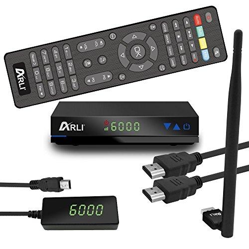 ARLI AH1 HD Sat Receiver mit Wifi Stick 150 Mbit Antenne vorprogrammiert Kanalliste für Astra Hotbird Türksat Digitaler Satelliten-Receiver DVB-S/S2 mit Internet IPTV Youtube Wetter Media Funktion USB Full HD 1080p externen 12V Netzteil und dem externen IR Sensor mit 4 stelligen LED Display