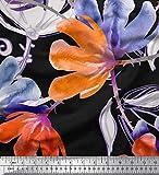 Soimoi Orange Viskose Chiffon Stoff Blume Aquarell Dekor