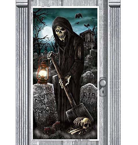 B-Creative 5ft Haunted Friedhofwall Deluxe Door Banner Halloween Szene Setter Party Dekoration