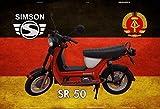 Simson SR 50 Motorrad Motorroller DDR Blechschild Metallschild Schild gewölbt Metal Tin Sign 20 x 30 cm