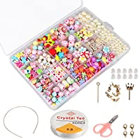 Niños bricolaje conjunto de cuentas (500pcs), Phogary DIY pulseras collares, cuentas para la fabricación de joyas para niños collar de perlas pulsera, kit de fabricación de cuentas como kit de regalo para niñas
