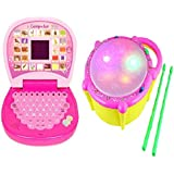 Combo Of English Mini Screen Laptop With Musical Flash Drum For Kids