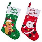 ZOEON Calza di Natale Borsa da Regalo di Grandi Dimensioni Santa/Renna Design Ornamento di Natale, Set 2 Pezzi