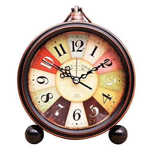 czos88 Reloj Despertador Silencioso Lente Cristal Vintage Moderno Estampado Flores Estilo Europeo Números Romanos Sobremesa Retro Redondo con Pilas Decorativo Oficina para Hogar Cuarzo (2)