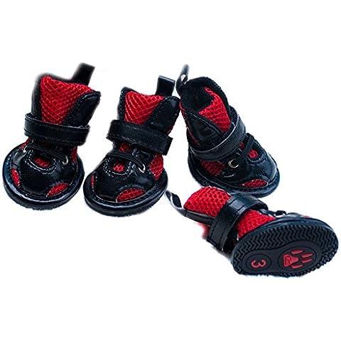 Semoss 4 Set Antideslizante Zapatos Perro Impermeable Zapatos Botas Perro Botas Animal Rojo Perros Accesorios,Tamaño:M,4.5 x 3.5 cm (L x B)
