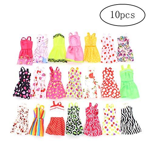 Newin Star 10pcs Kleidungen für Barbie-Puppe-Partei-Kleid kleidet Kleid Mode Kleidung Mädchen Weihnachten Geburtstags-Geschenk (Random Style)