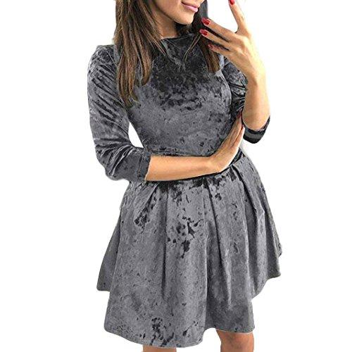 Verstellbare Taille-khaki (Solide Farbe Samt Schlank Taille Kurz Kleid HARRYSTORE Damen Lange Ärmel Abend Party Mini Kleid (Grau, L))