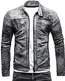 CRONE Epic Herren Lederjacke Cleane Leichte Basic Jacke aus weichem Schafs-Leder (L, Vintage Grau (Wildleder))