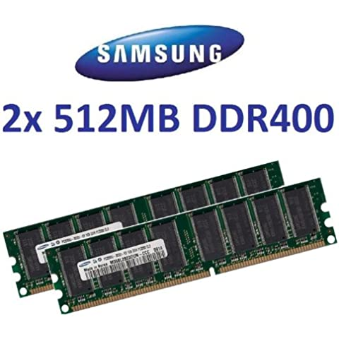 1 GB DUAL CHANNEL kit: SAMSUNG spartronic 2 x 512 MB 184 pin DDR-400 (400 mhz PC-3200 CL3) DIMM 64Mx 8 x 8 single side per tablet - 100% compatibile con 333 mhz PC-2700/266 mhz PC-2100