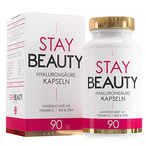 EINFÜHRUNGSANGEBOT Hyaluronsäure Kapseln - Hochdosiert mit 350mg 90 Vegane Kapseln Angereichert mit Vitamin C Biotin Zink - Für Haut Haare, Anti-Aging, und Gelenke Stay Beauty