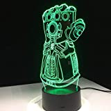 FaceToWind Thanos Unendlichkeit Gauntlet Avengers Infinity Krieg Handschuhe 3D Nachtlichter LED Ändern 3D Neuheit Licht Kreative Schreibtischlampe