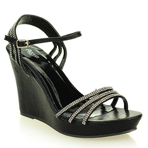 Femmes Dames Ouvert doigt Ankle Strap Diamante Soir Mariage Fête Bal de promo De mariée Talon compensé haute Des sandales Chaussures Taille Noir