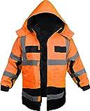 normani Outdoor- & Arbeitsbekleidung 4-in-1 Warnschutzparka Stonefield [S-4XL] Farbe Warnorange/Marine Größe XL