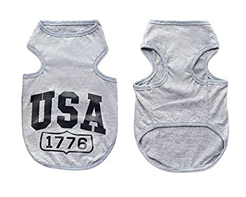 SMALLLEE_LUCKY_STORE Pet USA Small Dog T-shirt Shirt Vest Summer Cool Pet Puppy Clothes Boys Girls Gray
