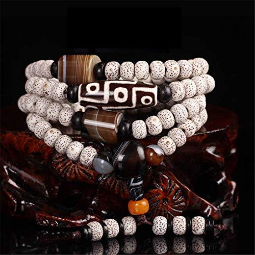 Weiß Bodhi Samen Handgelenk Mala Halskette Armband Ring Hand Kette Braun Schwarz Achat Buddhismus Perle - Home Car Office Handtasche Dekoration Tibetisch Buddhistisches Unterrichtsmaterial, L