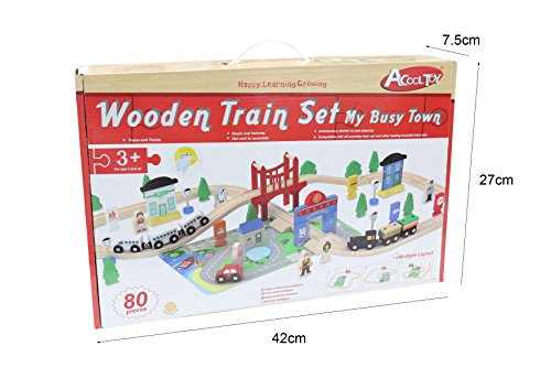 ACOOLTOY Wooden Train Track Set Toy Wooden Classic Railway Flexible Track Car Set Building Kit Toy for Kids Aged 3+ (80 Pcs)