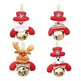 Abbellimenti natale tessuto OULII Decorazioni natalizi a forma di Babbo natale Pupazzo di neve Renna con campane da appendere per albero di natale 4PCS