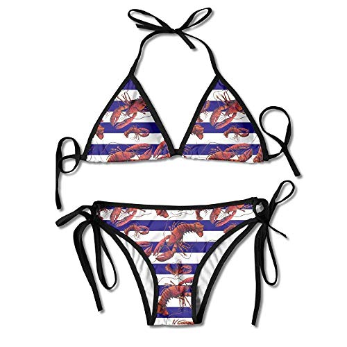 Red White and Blue Striped Lobster Women's Tie Side Bottom Bikini Suits Two Pieces Swimwear -