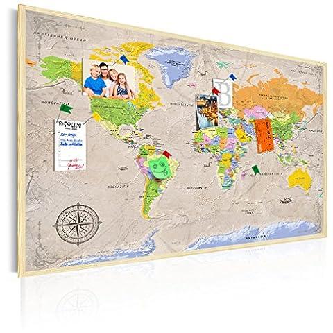 90x60 cm POLITISCHE WELTKARTE DEUTSCH   PINNWAND Bilder & Leinwand im Bilder-RAHMEN - Komplettbilder im Holzrahmen! Leinwand Bild! Aufhängfertig! Wandbilder auch als Korktafel nutzbar! Wasser- und wischfest! Politische Weltkarte