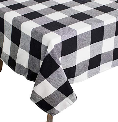 fennco Styles Buffalo Check Karomuster Baumwolle Daunen gefüllt Überwurf Kissen, schwarz, 65