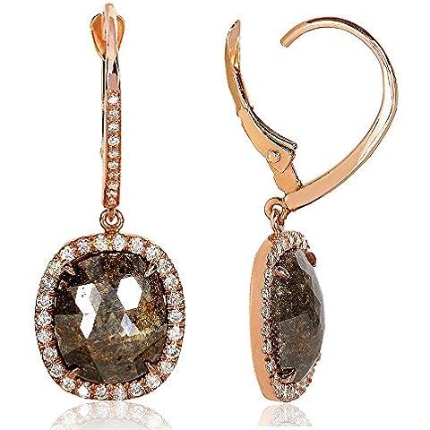 5, 4 pezzi, colore: marrone opaco/5ct (ctw) Orecchini in oro rosa, 14 k - 5 Ct Orecchini Di Diamanti