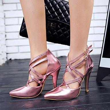 LFNLYX Frauen Fersen Frühling Sommer Herbst Club Schuhe Kunstleder Casual Stiletto Ferse Schnalle Blau Pink Silber Pink