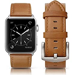 Correa Piel para Apple Watch 44mm Series 4 y 42mm Series 3 Series 2 Sereis 1. Correa de Piel Cuero Genuino (Color Camel 44mm/42mm)