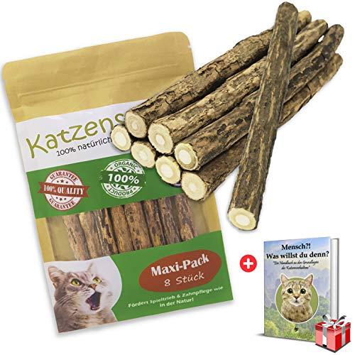 Woofles Katzenminze Katzenspielzeug 8 Sticks/Stick + GRATIS E-Book, unsere Matatabi – Katzensticks/Kausticks helfen spielerisch bei Zahnstein, Mundgeruch & Zahnpflege