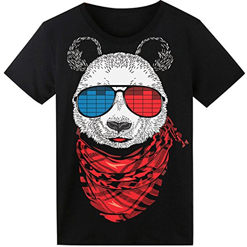 LED T-Shirt für Party Hiphop Cosplay Konzert Geburtstagsgeschenk Beste Halloween Kostüm Sound Aktiviertes Equalizer Shirt DJ T-Shirt (Panda, Large) (In The Dark Halloween-glow Shirts)