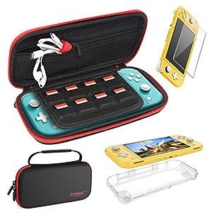 FASTSNAIL 3in1 Zubehör-Set – [Ultra Thin] Schutzhülle und gehärtetes Glas für Nintendo Switch Lite – Carry Case…