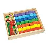 """Small Foot by Legler Fädelbox """"Jumboperlen"""" aus bunt lackiertem Holz, für kreatives Basteln und Entwerfen von Schmuckstücken, in einer praktischen Holzbox mit Schiebedeckel, perfekt für kleine Kinderhände, für kleine Schmuckdesigner ab 3 Jahren"""