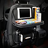 GutReise Multi-function PU Leather Car Seat Organizer Holder Convenient Multi-Pockets Car Seat Hang Bag with Foldable Table Tray Vehicle Travel Storage Bag (black)