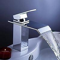 Cosmopolitan Cromo diffuso cascata bagno rubinetti di controllo Single Deck Monte rubinetto di lavabo vasca da bagno miscelatore del dispersore di vanità del vaso rubinetto dal design unico Idraulica,