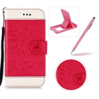 Strap Leather Case for LG G5,Carrying Wallet Pouch Cover for LG G5,Herzzer Premium Stylish Elegant [Hot Pink Butterfly Tree Girl Pattern] Color Stitching PU Leather Flip Fold Stand Card Holders Smart Case Cover for LG G5 + 1 x Free Pink Cellphone Kickstand + 1 x Free Pink Stylus Pen