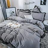 Doppelseitig Drucken Bettbezug 4-teiliges Set Bettwäsche Gesetzt Aktiv Bedrucken Und Färben Doppelseitig Schrubben Leinwandbindung Weben Superfein Faser, Romantische Spitzenserie