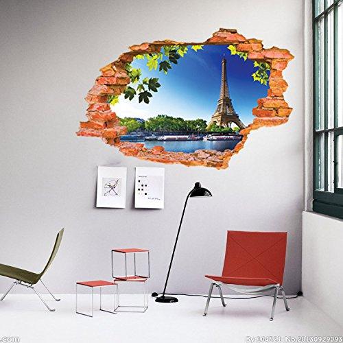 Stickerkoenig 3D Design Wandtattoo Paris Eiffelturm Urlaub Stadt Wanddurchbruch Wand Loch Deko Aufkleber Stadt der Liebe - Paris-wand-aufkleber