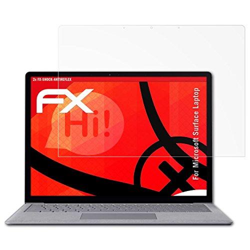 Microsoft Surface Laptop Panzerfolie - 2 x atFoliX FX-Shock-Antireflex blendfreie stoßabsorbierende Panzerschutzfolie Displayschutzfolie