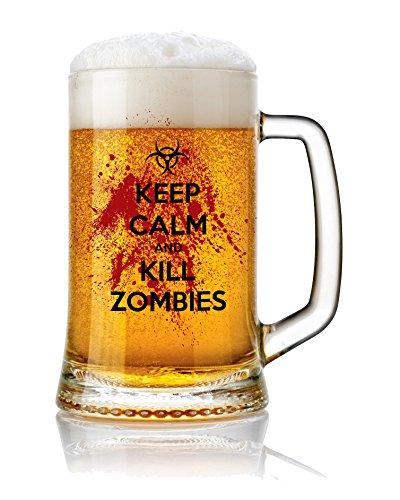 Jarra de Cerveza vidrio 50 cl. con frases Modelo Kill Zombies