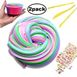 Swallowzy Fluffy Slime Colorful Rainbow Slime Stress Relief Toy Scented Sludge Toy 2...
