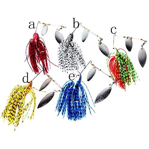 Bestok Pêche Leurres Spinner Fileur Cuillère en Métal Leurre de Appât Artificielle Pike Basse Tacle Tranchant Tripler Crochet (5Pcs Pêche Difficile Fileur Leurres)