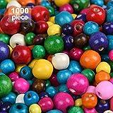 YANSHON Perline Legno Colorate 1000pz Perline Legno Assortiti Colorati Rotondi, Perle Legno Gioielli, Perline Rotonde Assortite, Perline Naturali per Artigianato Collane Braccialetti, 8/10/12/14mm