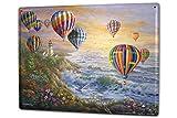 Cartel Letrero de Chapa XXL Retro coloridos globos de aire caliente gaviotas costa Leuchttum
