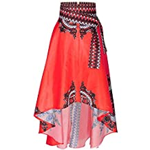 QUICKLYLY Falda Africano Mujer Impreso Verano Boho Largo Vestir Playa Noche  Fiesta Maxi 74dd1bb69412
